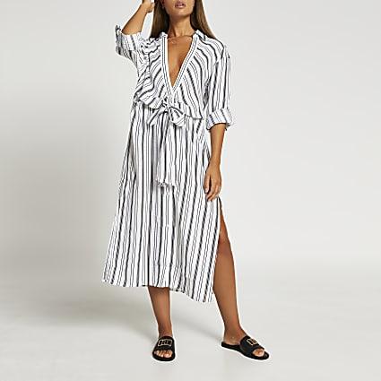 Black stripe tie waist shirt dress