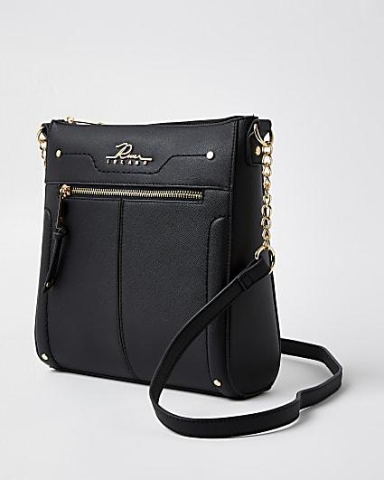 Black structured messenger bag