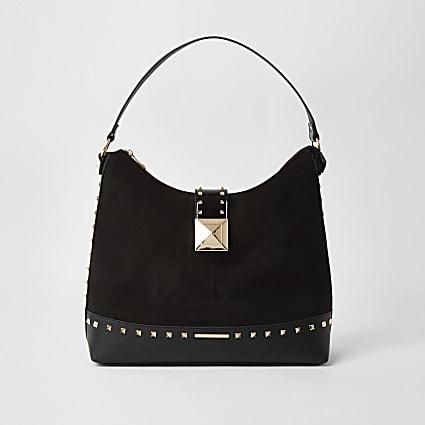 Black stud detail lock slouch bag