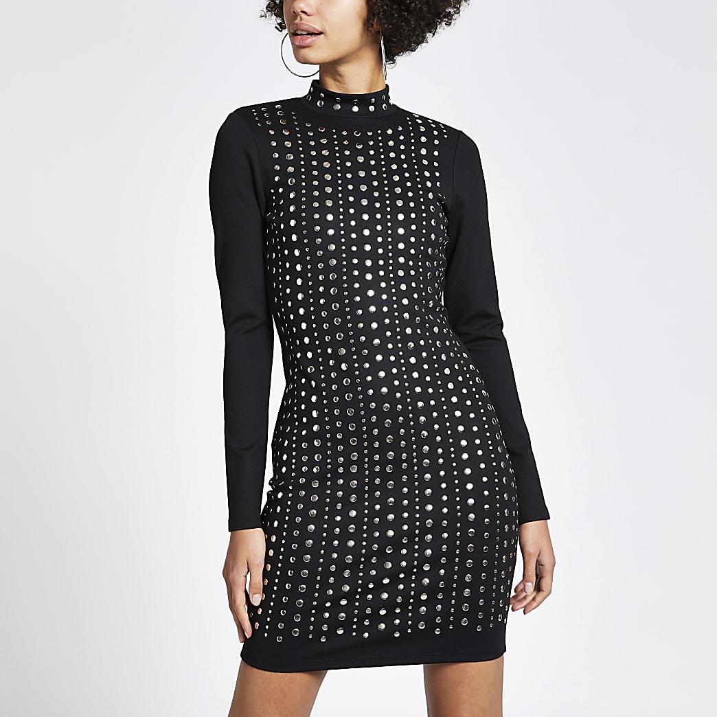 Black stud embellished bodycon dress