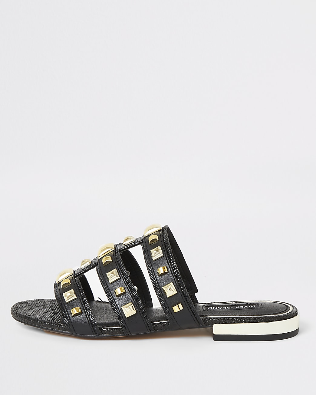 Black studded caged Mule sandals