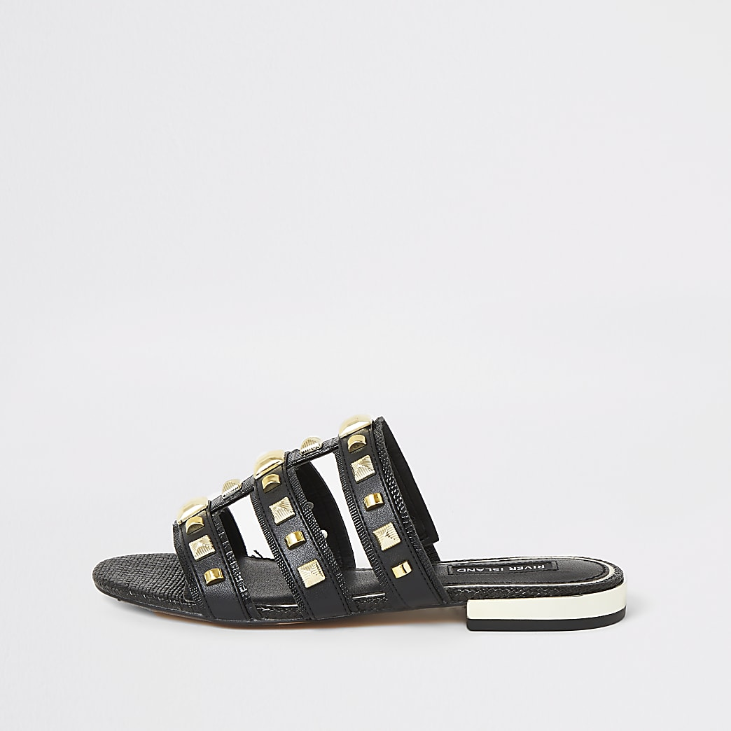 Black studded caged Mule sandals