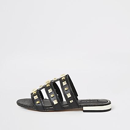 Black studded caged sandals