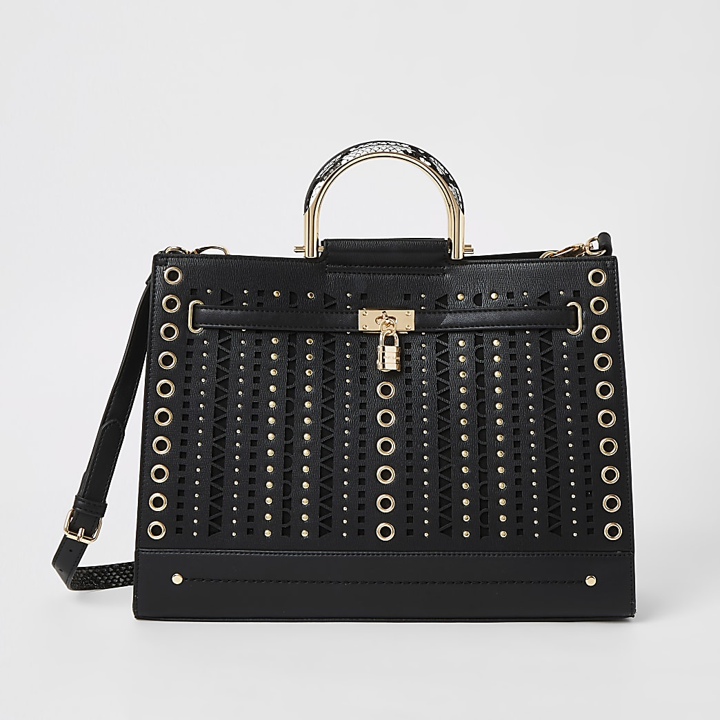 Black studded cut out tote bag