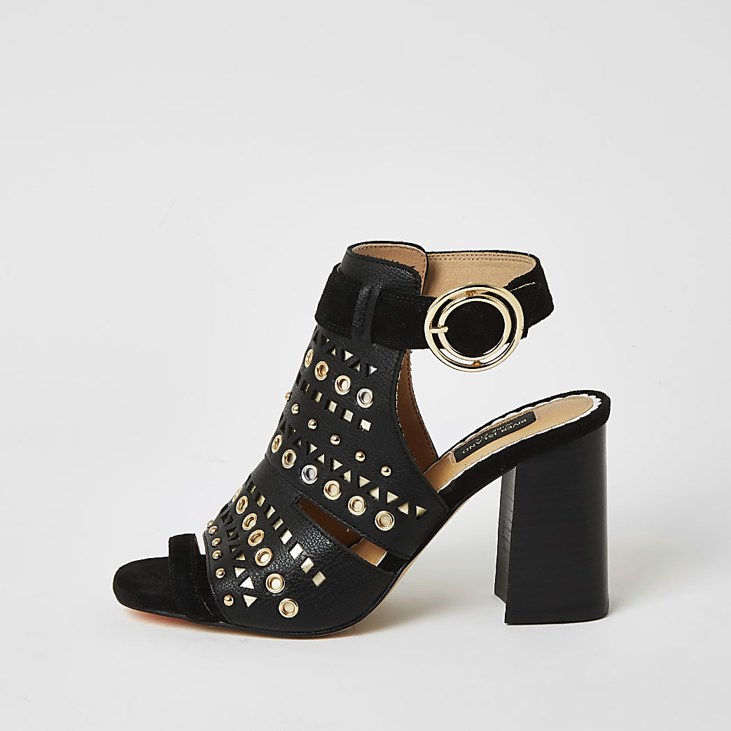 Black studded cut out wide fit shoe boots