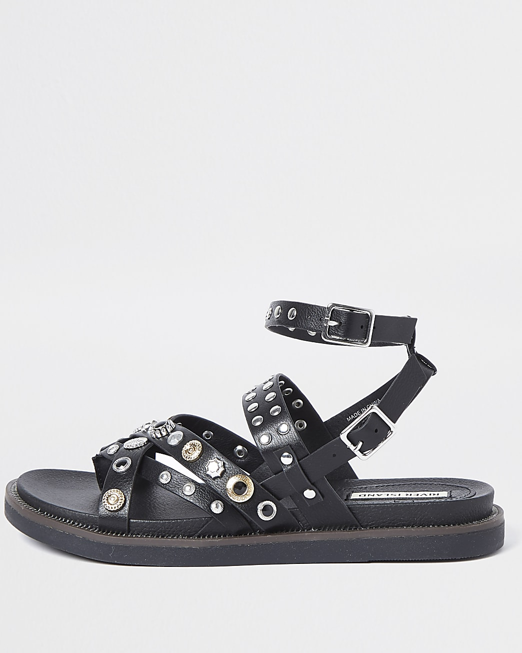 Black studded flat sandals