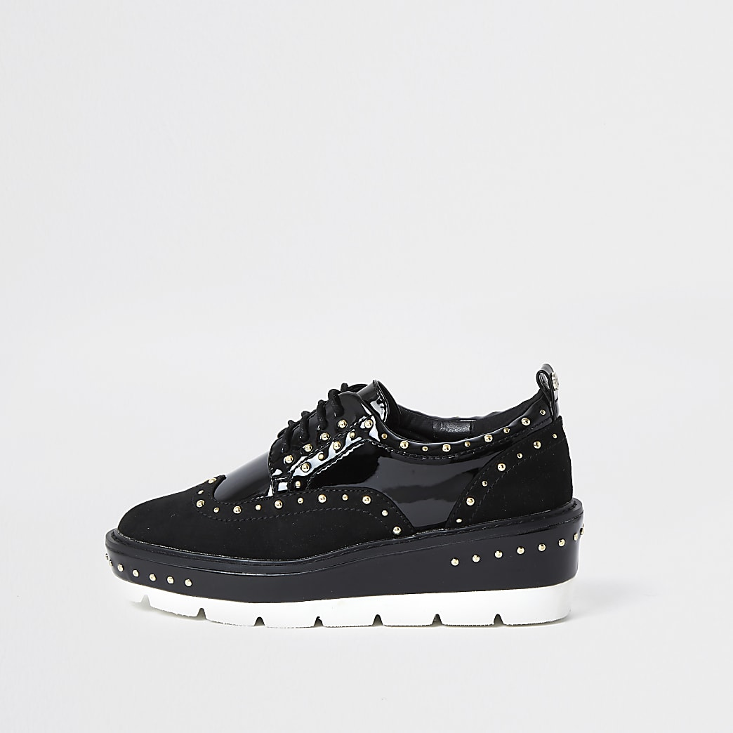 Black studded flatform brogues