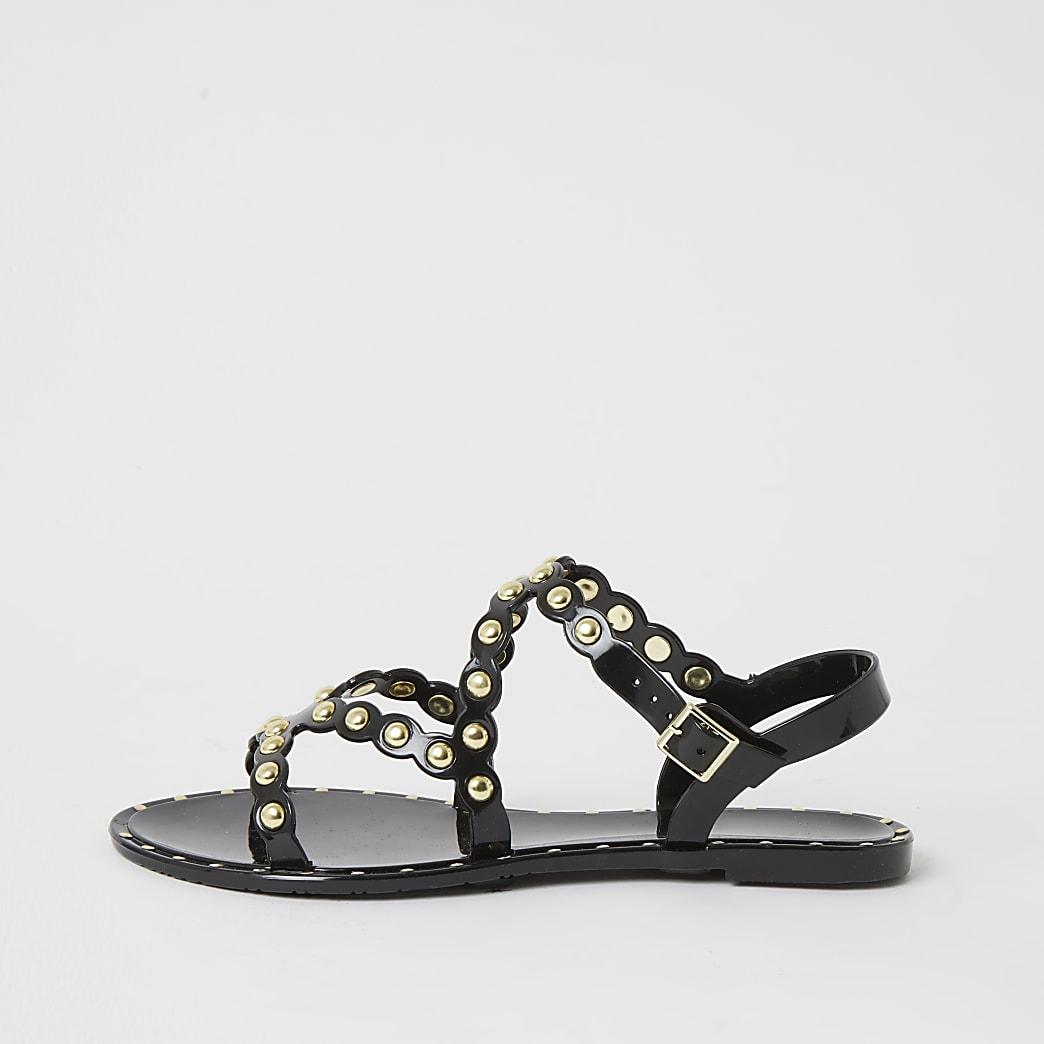 Schwarze Jelly-Sandalen mit Nieten