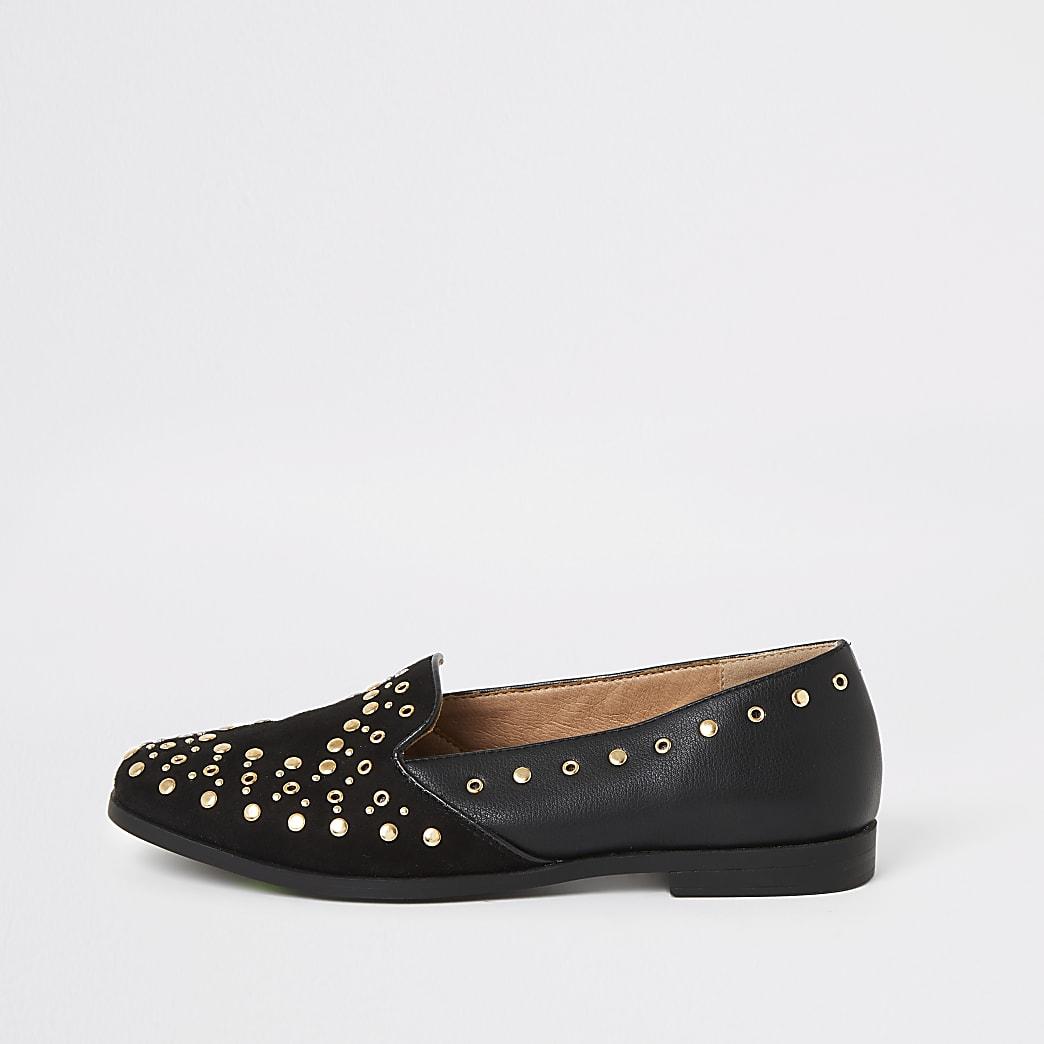 Schwarze Loafers mit Nieten