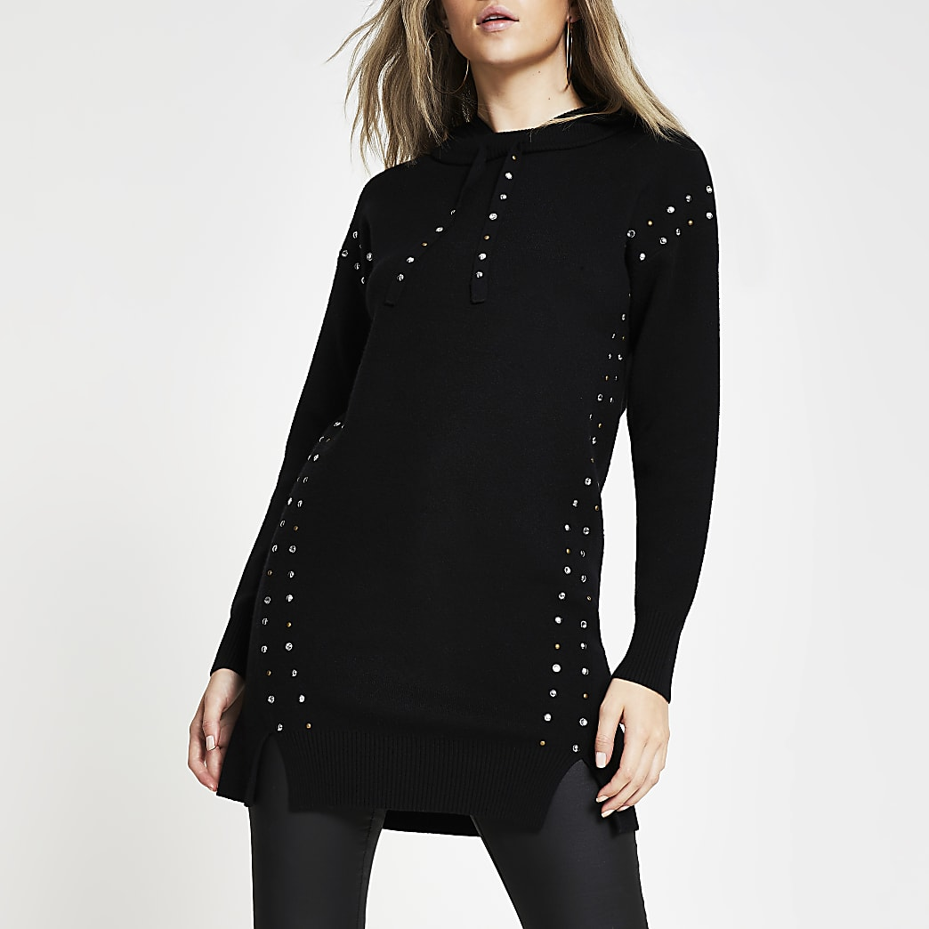 Black studded long line knitted hoodie