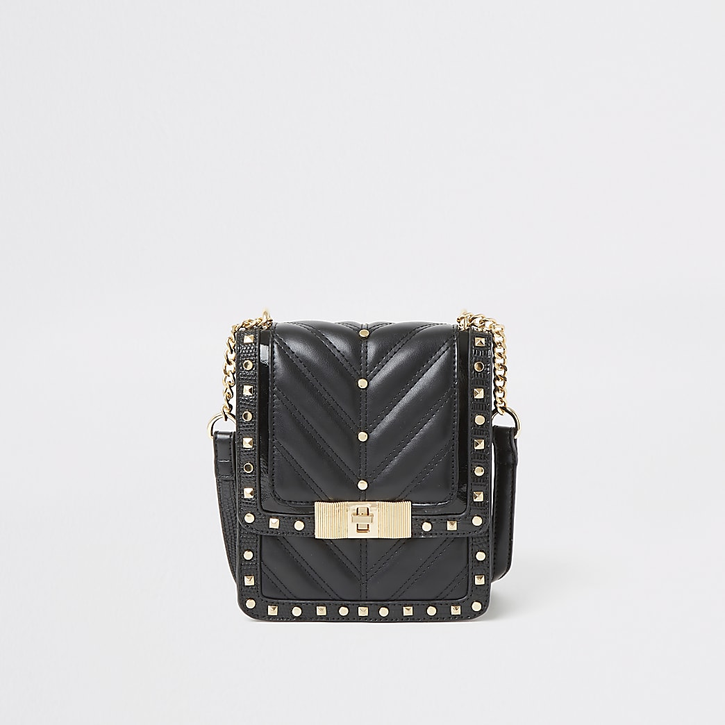 Black studded quilted cross body bag
