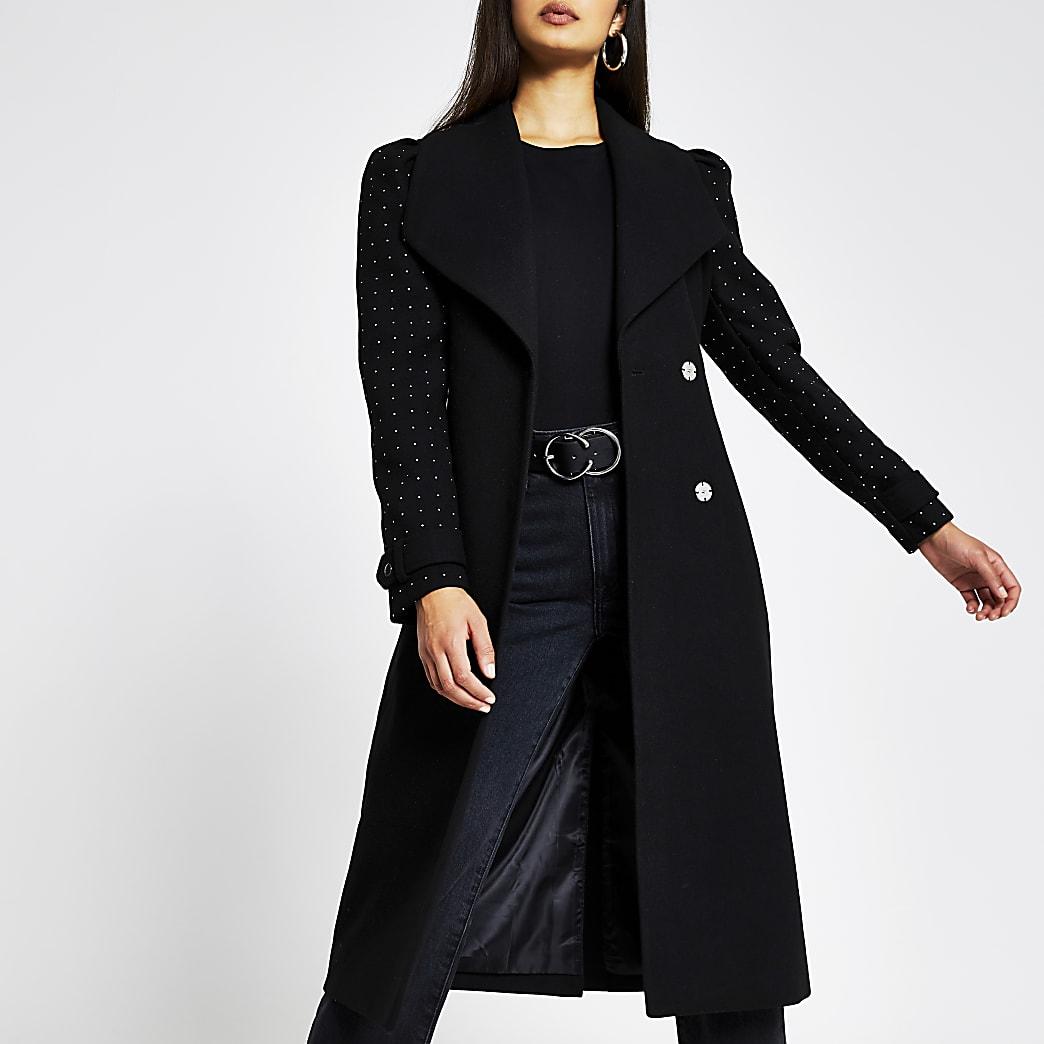 Black Studded Sleeve Belted Robe Coat
