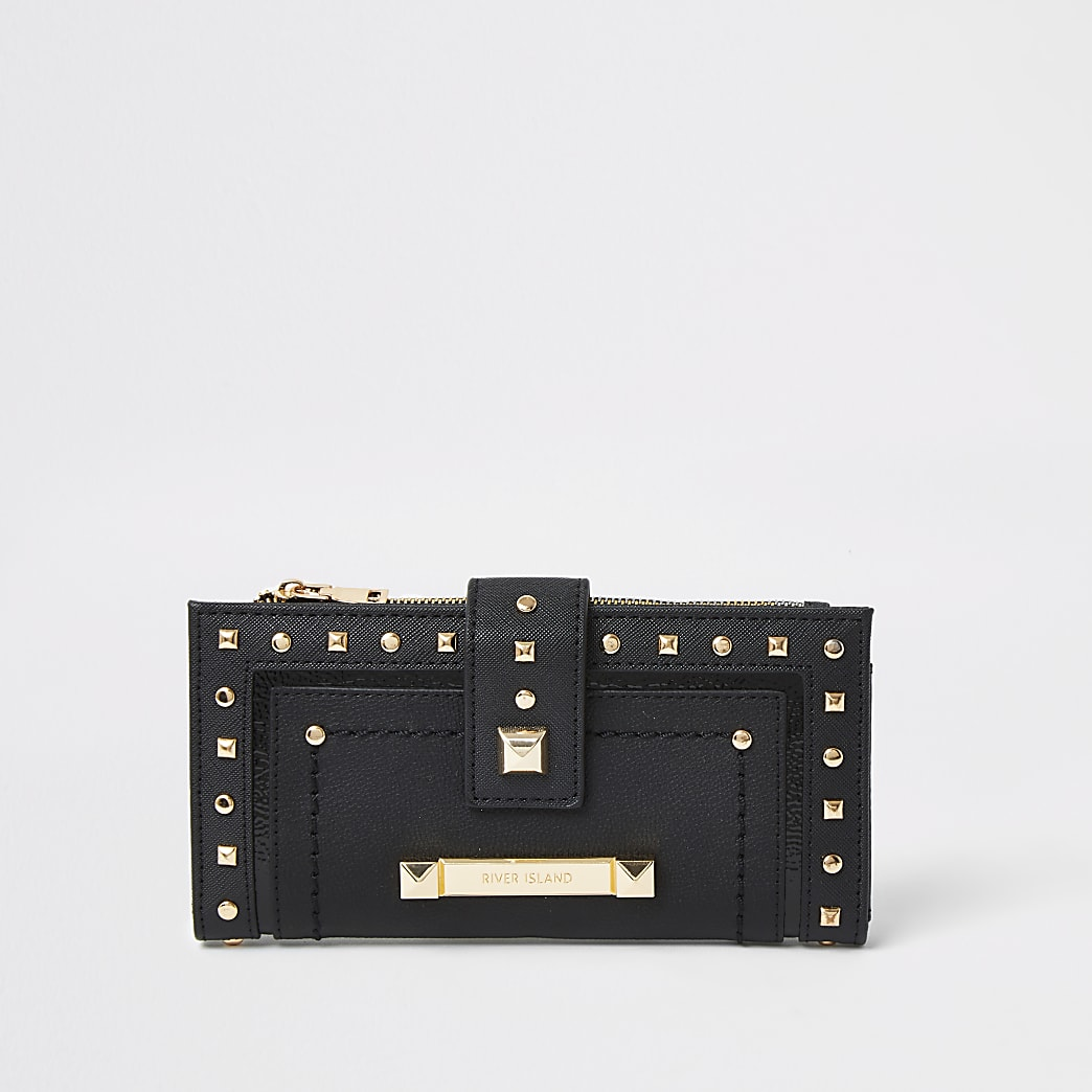 Black studded tab top purse