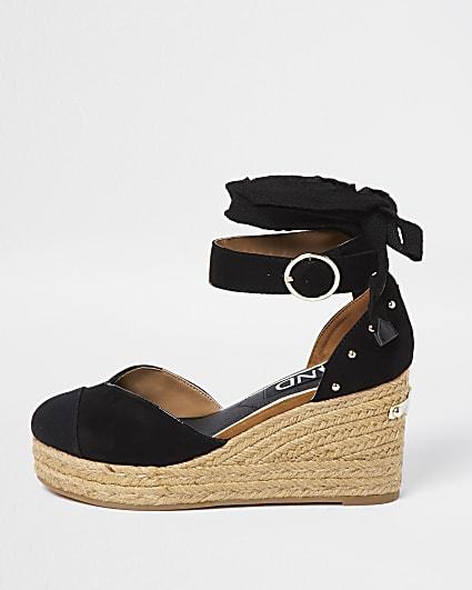 Black studded wedge sandals