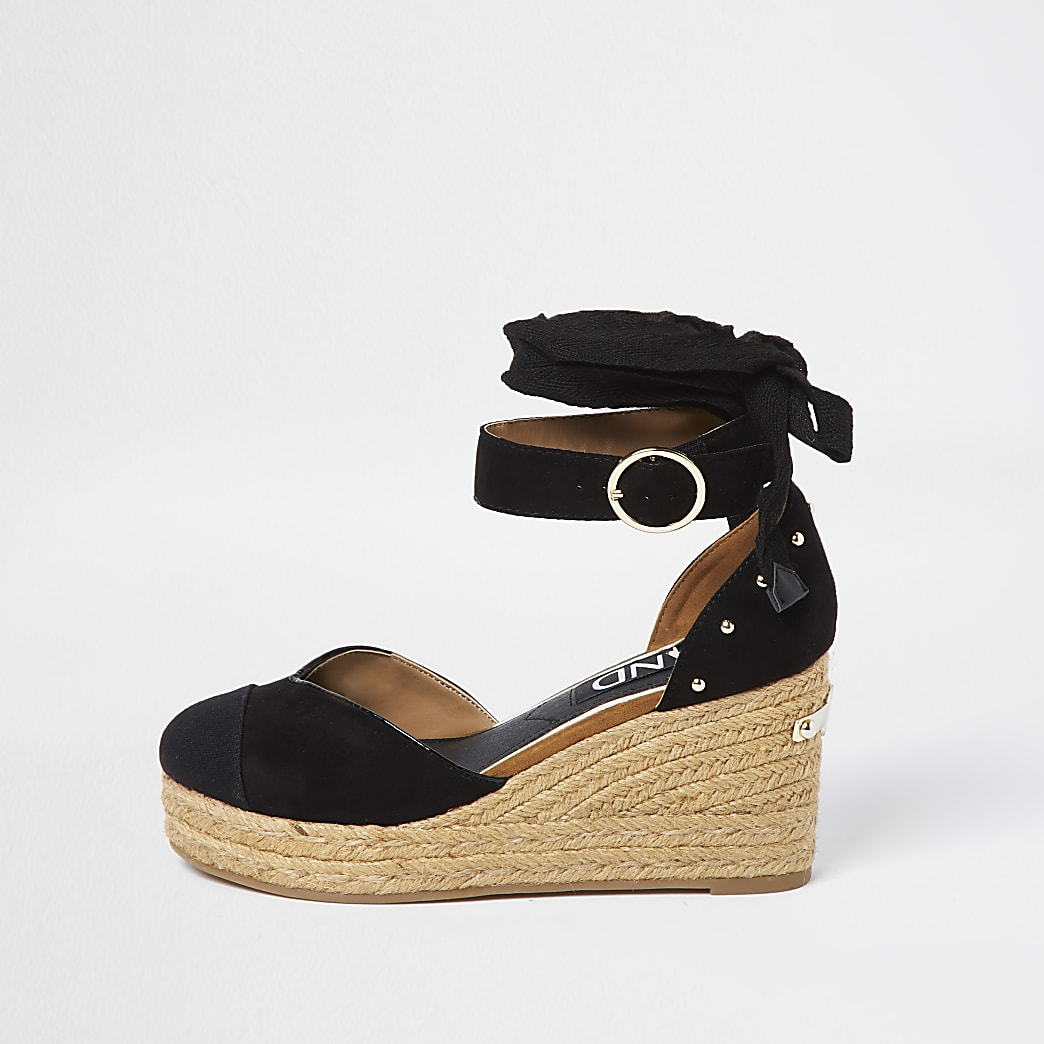 Black studded wedge sandals