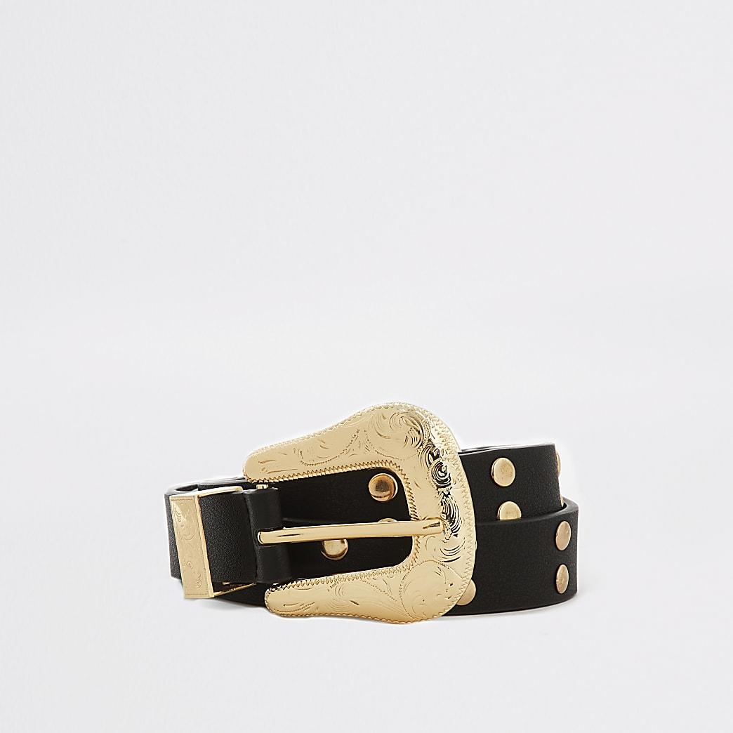 Black studded western buckle belt