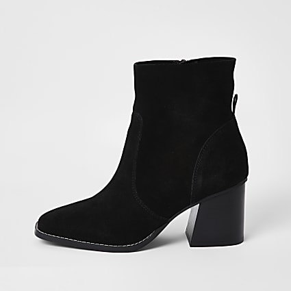 Black Suede Block Heel Boot