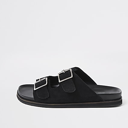 Black suede buckle strap sandals