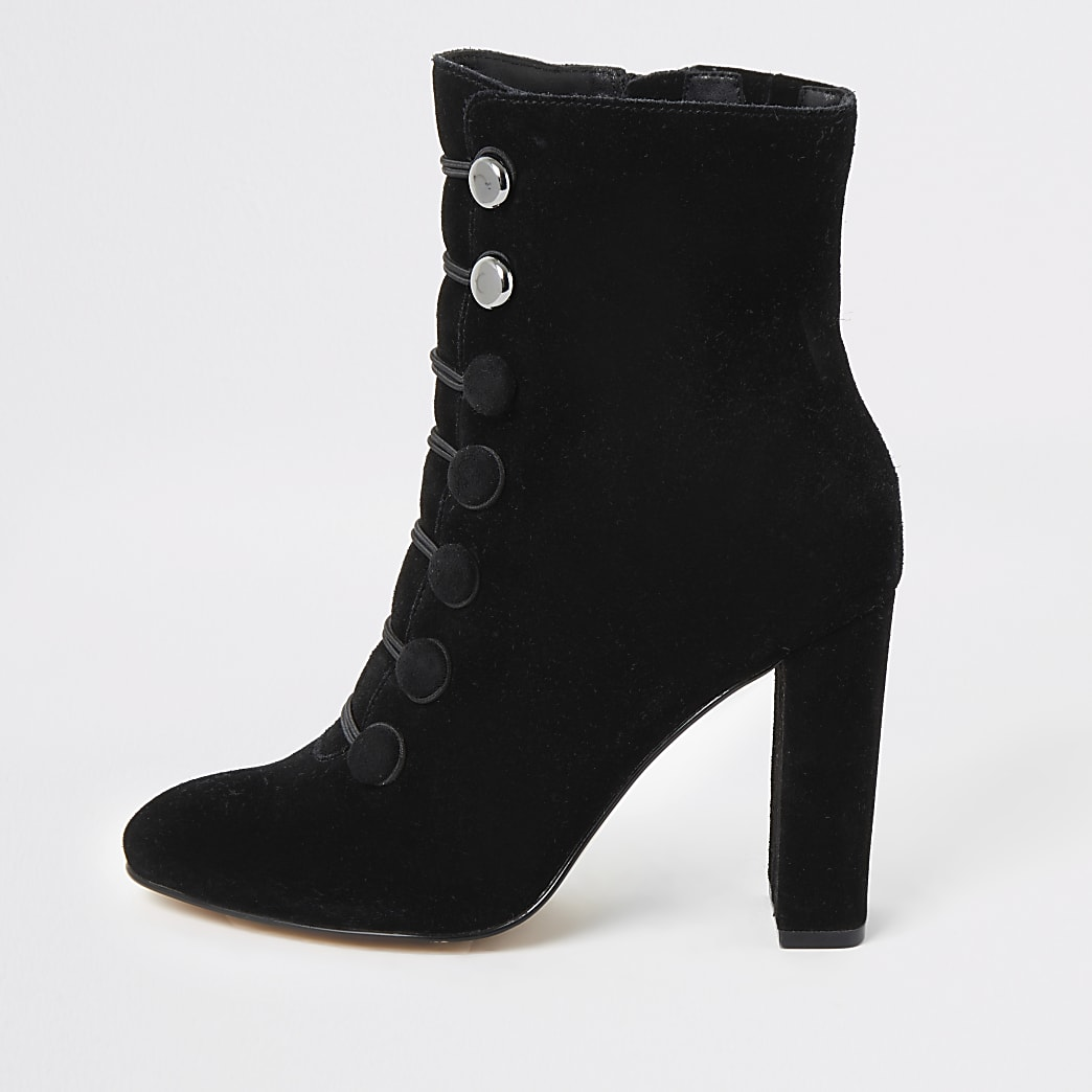 Black suede button front ankle boots