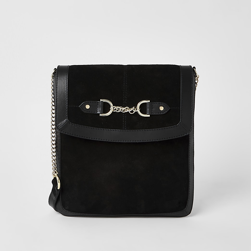 Black suede chain snaffle messenger handbag