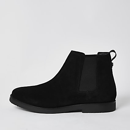 Black suede chelsea boots