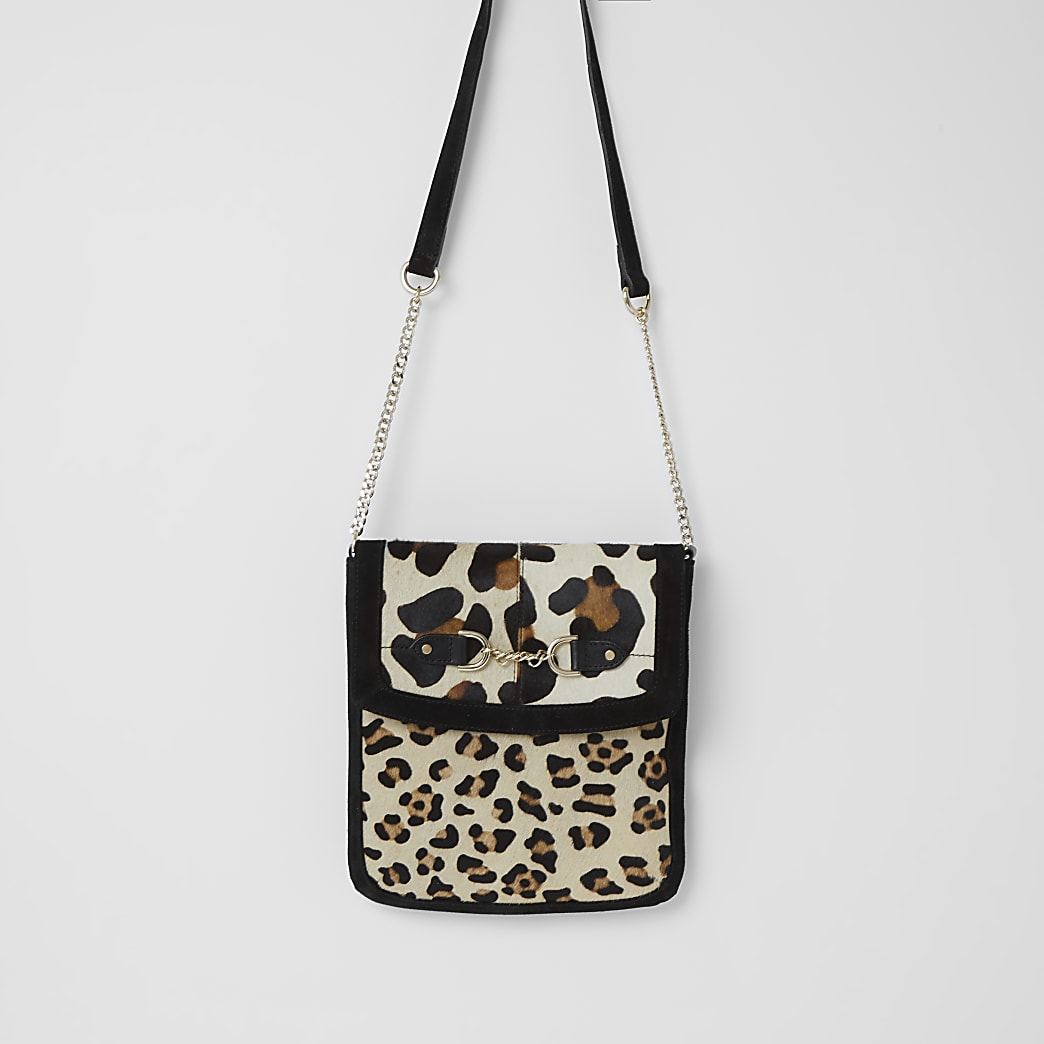 Black suede leopard print messenger bag