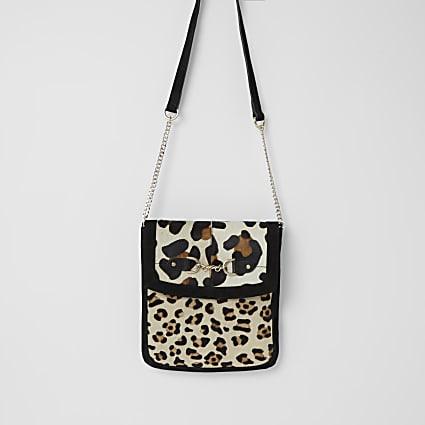 Black suede leopard print messenger handbag