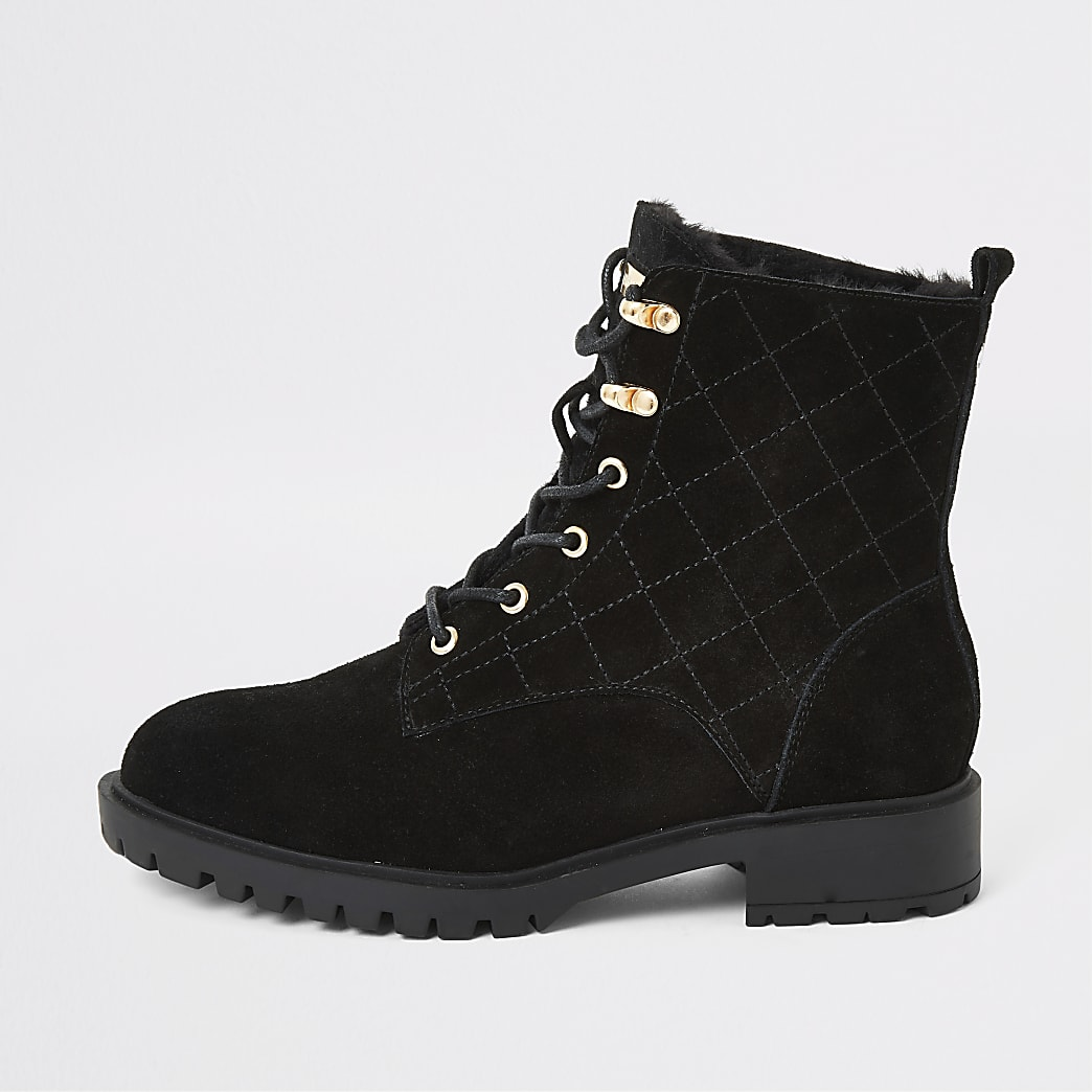 Black suede quilted chunky lace-up boots