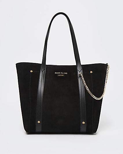 Black suede shopper bag