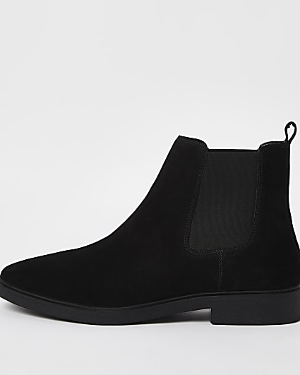 Black suede slip on chelsea boots