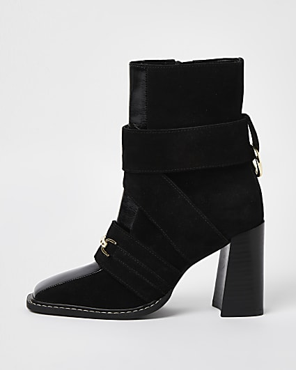 Black suede square toe heeled boots