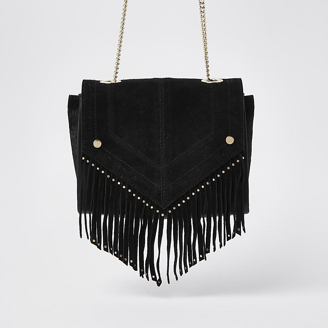 Black suede studded fringe detail handbag