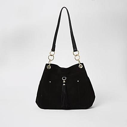 Black suede tassel front shoulder bag