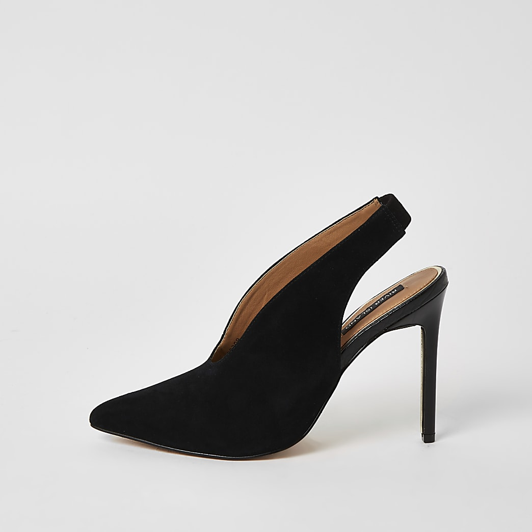 Black suede V front slingback court shoes