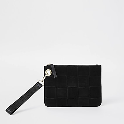 Black suede weave clutch handbag