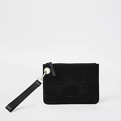 Black suede weave clutch handbag