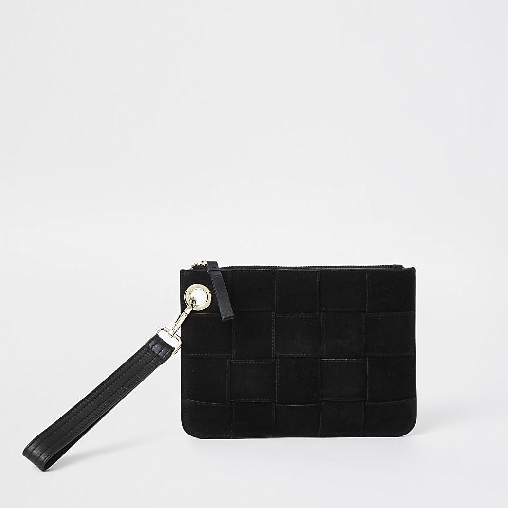 Black suede weave print clutch handbag