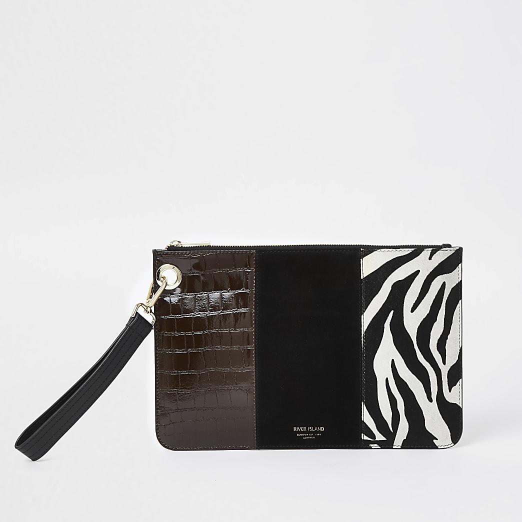 Black suede zebra print clutch handbag
