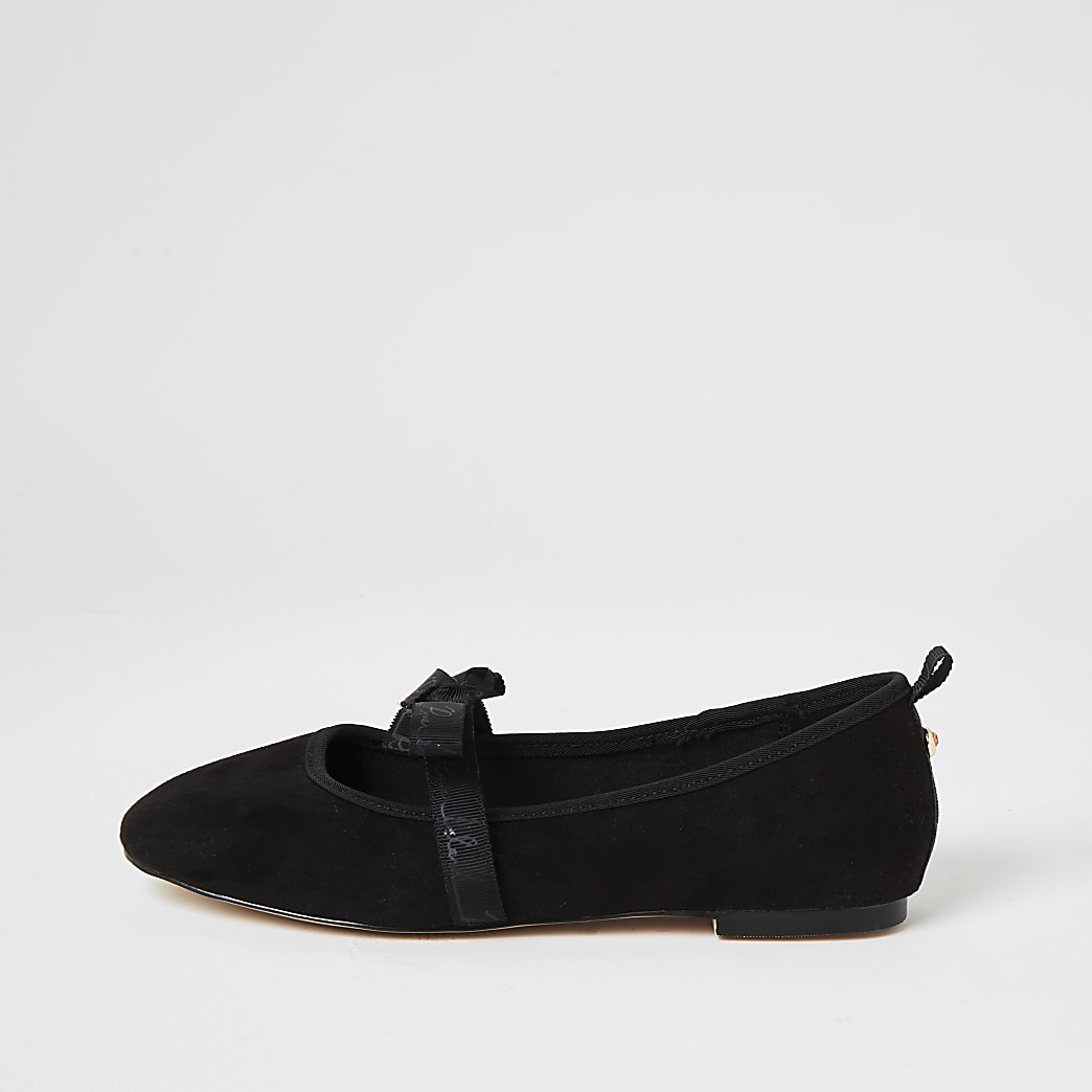 Black suedette bow strap ballet shoes