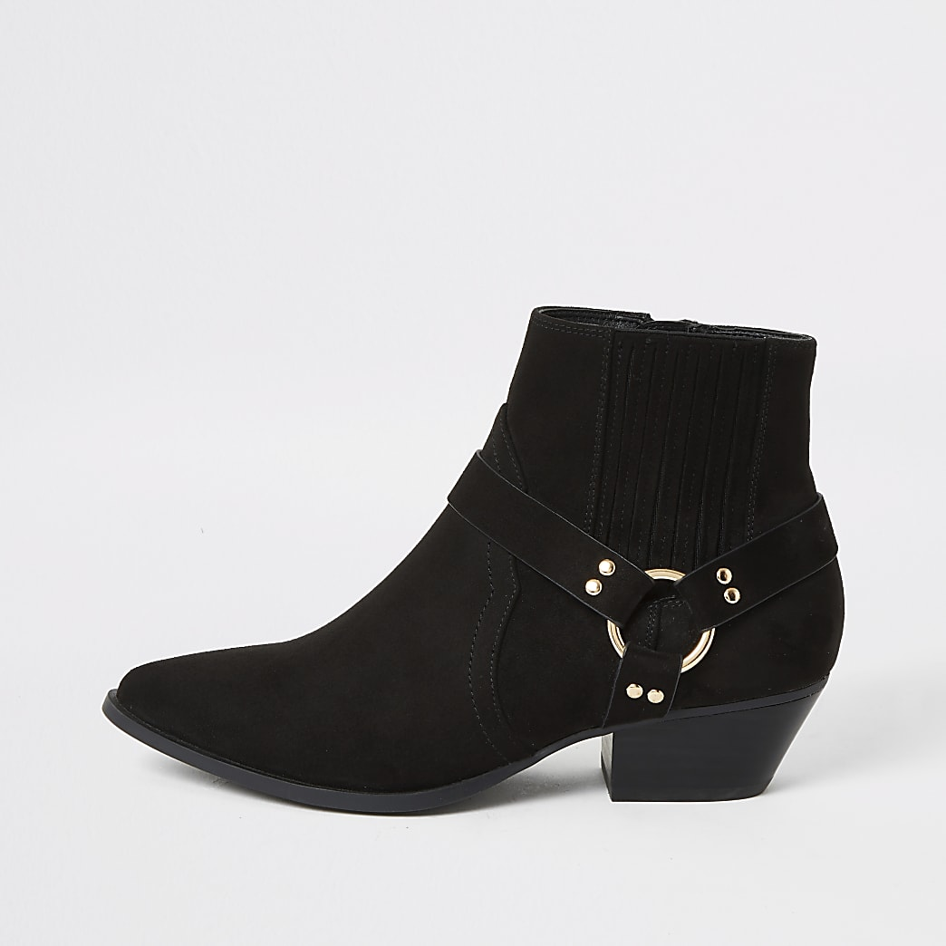 Black suedette buckle  western ankle boots