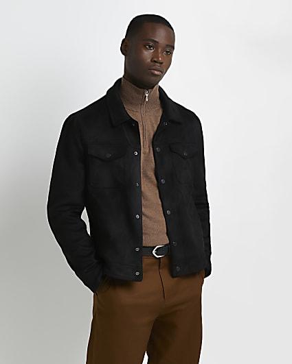 Black suedette button up jacket