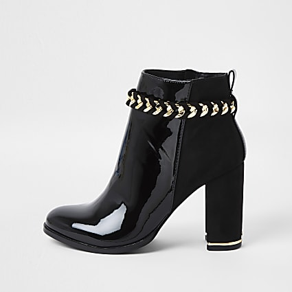 Black suedette chain detail boots