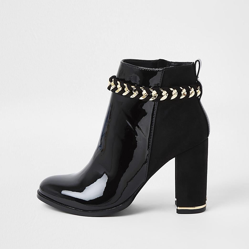 Black suedette chain detail boots