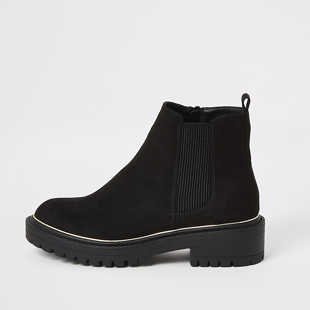 Black suedette chunky ankle boots