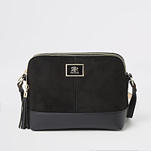 Black suedette cross body bag