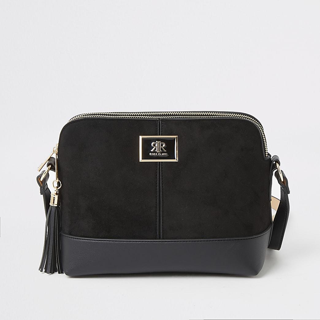 Black suedette cross body Handbag
