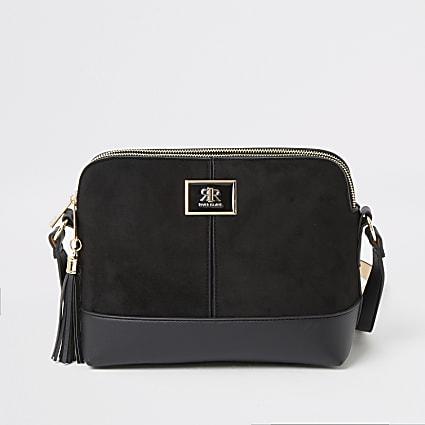 Black suedette crossbody bag