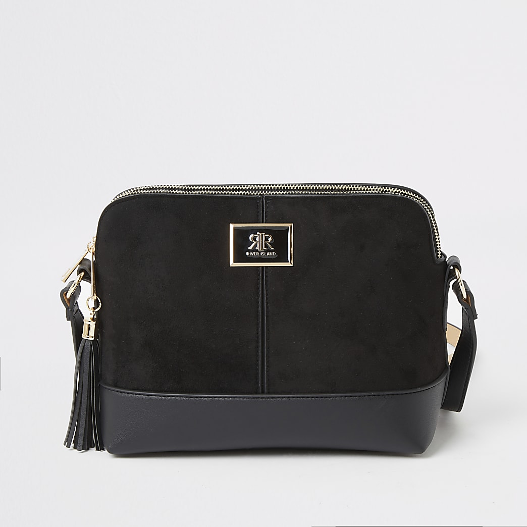 Black suedette crossbody bag