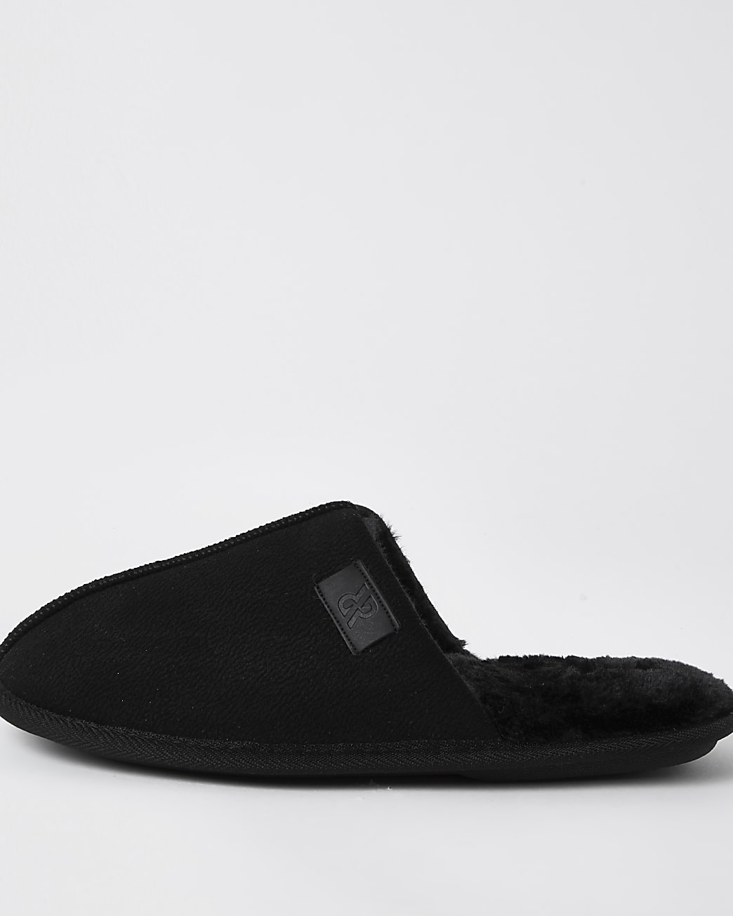 Black suedette mule slippers