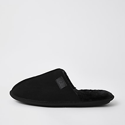 Black suedette mule slippers